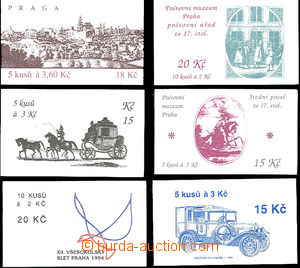 50946 - 1993-5 6 pcs of stamp-booklet,  ZS13 Mail Coach (stamp. Pof.
