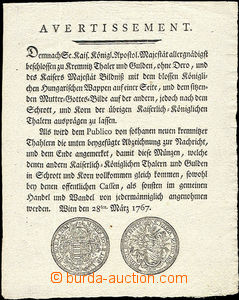 50959 - 1767 Avertissement issued in Vienna 28.března 1767 with pict