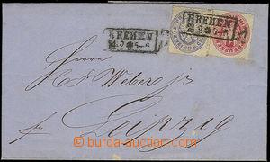 50996 - 1866 skládaný dopis vyfr. zn. Mi.16-17, rámečkové DR Br