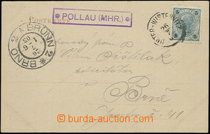 51058 - 1903 pohlednice s razítkem poštovny POLLAU (MHR), (Pavlov)