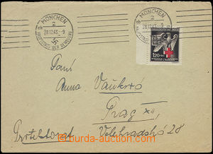 51062 - 1943 letter with BOHEMIA-MORAVIA Pof.112 and sent from Munic