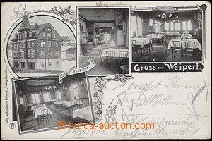 51068 - 1902 Weipert (Vejprty), 4-view collage, café Fickert, inter