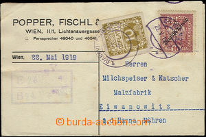 51078 - 1919 AUSTRIA  perfin Popper, Fischl & Co. na rakouské zn. s