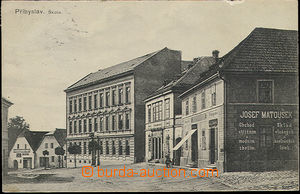 51119 - 1910 Přibyslav - school and shop in the square; Us, preserv