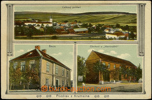51121 - 1915 Krumsín - 3-views, school, shop Vavroušků, general v