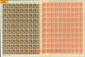 51134 - 1934-40 assembly of 7 sheets of postage stamps without gum,