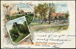 51137 - 1900 Plzeň - litografická koláž, výletní restaurace Z�