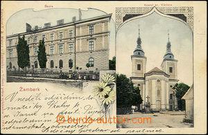 51140 - 1901 Žamberk - 2okénková, škola, kostel; DA, prošlá, o