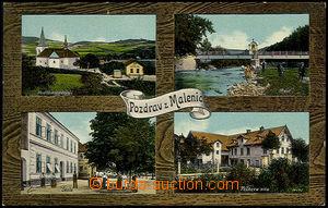 51147 - 1913 Malenice - 4okénková, kostel, most, škola, Peškova vila