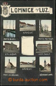 51149 - 1910 Lomnice nad Lužnicí - 8-okénková v černém pozadí s erbe