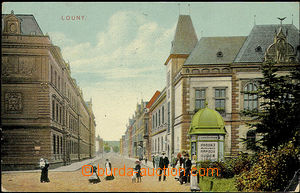 51151 - 1910 Louny - view of street; Us, pulled-down stamp, broken c