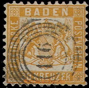 51205 - 1862 BADEN Mi.22  Coat of Arms, end value, clear numbered po