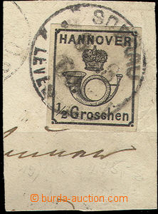 51207 - 1860 HANNOVER Mi.17 Trumpet And Crown, cutting with a whole