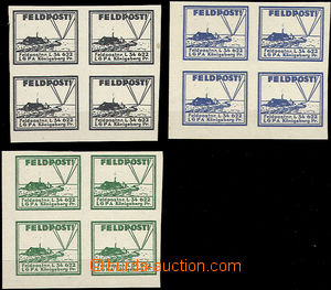 51210 - 1944 Mi.13 hinge / label FP in blocks of four, color black,