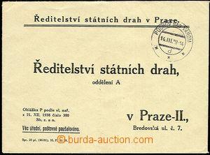 51244 - 1939 odpovědní dopis Ředitelství státních drah v Praze