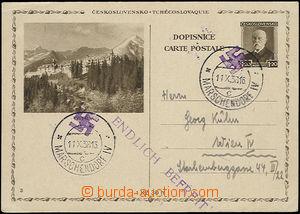 51249 - 1938 dopisnice CDV67/3 zaslaná do Vídně, vylámané DR Marsche