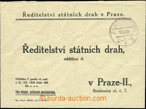 51281 - 1939 úřední dopis Státních drah s předběžným raz. V