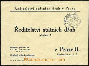 51284 - 1939 úřední dopis Státních drah s předběžným raz. V