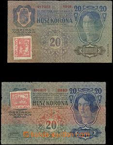 51306 - 1918 2 pcs of prozatimních státovek 20K, Ba.2 + Ba.3 with mo