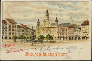 51328 - 1899 Budweis (České Budějovice), barevný pohled na náměstí s