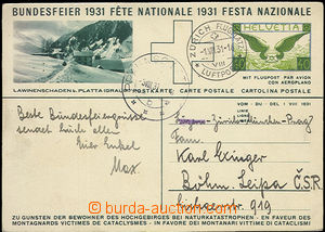 51353 - 1931 airmail image post card Bundesfeier 1931, Mi.P141/02, s