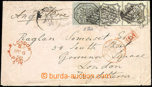 51378 - 1858 letter sent to England paid by Mi.7, 2x9 stamps, daily