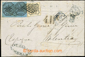 51384 - 1862 folded letter sent to Valencia paid by Mi.2x8, 9 stamps