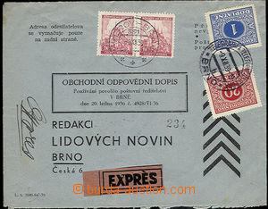 51395 - 1939 odpovědní dopis zaslaný Ex se zapraveným pouze expr