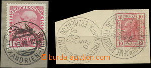 51413 - 1908, 1912 comp. 2 pcs of cut-squares with stamp. with cance