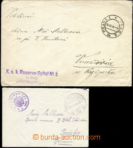 51435 - 1914-16 2 letters from zdravotních equipment, 1x straight l