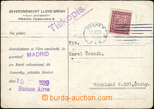 51438 - 1929 dopisnice Severoněmeckého Lloydu Brémy, pražské je