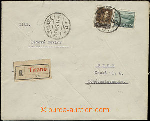 51444 - 1937 Reg letter to Czechoslovakia, franked by stmp Mi.221, 2