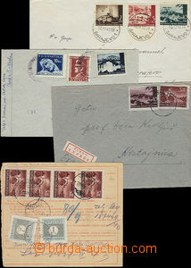 51448 - 1942-43 assembly of 4 pieces of entires, 1x registered, nice