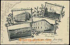 51521 - 1900 Odry - 4okénková, kostel, dívčí škola, celkový p