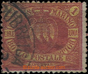 51536 - 1892 Mi.20 Land Coat of Arms, 1L, slightly off center, prese