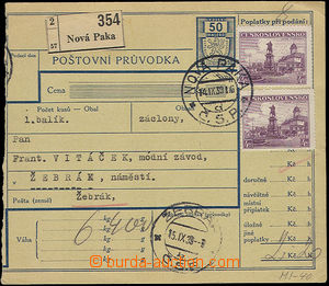 51573 - 1939 larger part of parcel card with revenue, with Pof.2x311