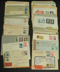 51590 - 1949-63 AUSTRIA  sestava 110ks dopisů a lístků vyfr. zn.