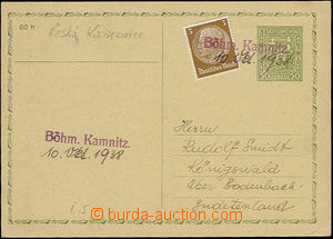 51630 - 1938 CDV65 uprated by. German postage stmp Hindenburg 3(Pf)