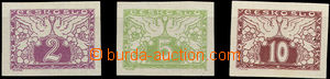 51645 - 1919 Pof.S1N-3N, bílý papír, zk. Gi., velmi lehká stopa