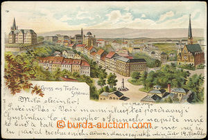 51654 - 1900 Teplice - litografie, DA, prošlá, lehce zakulacené r