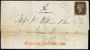 51667 - 1840 folded letter franked by Mi.1 stamp, irregular cut (evi
