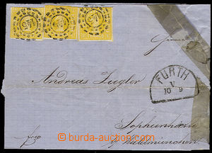 51672 - 1862? BAYERN  folded cover of a letter paid by Mi.3x 8 stamp