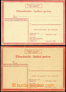 51673 - 1944 postal stationery - express card1, 2x VII. type, both w