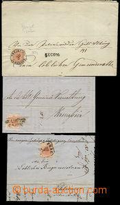51750 - 1852-5 sestava 3ks skládaných dopisů vyfr. zn. 3Kr Znak (