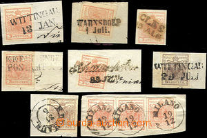 51763 - 1850 8 pieces of cuttings with stamps 3Kr, 6Kr, 15Cmi Coat o