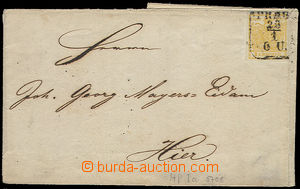 51777 - 1854 folded letter cover paid by Mi.1X, 1Kr, HP la, sent in