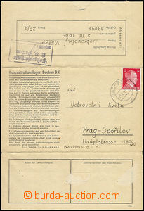 51825 - 1943 C.C. DACHAU  preprinted letter blank form sent Czech pr