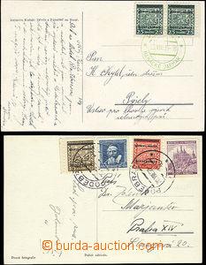 51837 - 1939 2x pohlednice vyfr. přetiskovými zn. různých hodnot