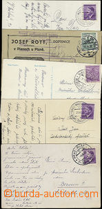 51843 - 1939-42 comp. 5 pcs of cards with railway pmk No.81 Prague -
