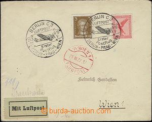 51879 - 1927 Let. dopis přepravený 1. letem Berlin - Prag - Wien,